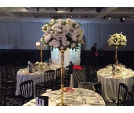 Gold candelabras and flower stands